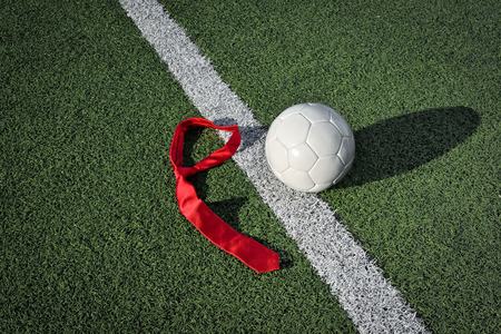 touchline: Soccer Ball and Tie on a Soccer Field
