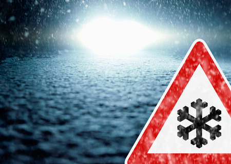 drifting ice: Winter Night Driving - Winter Road - Caution Snow