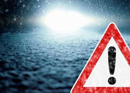 winter night: Winter Night Driving - Winter Road - Caution