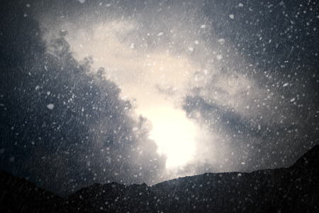 storms: Weather - Dramatic sky with rain and snow - computer generated image