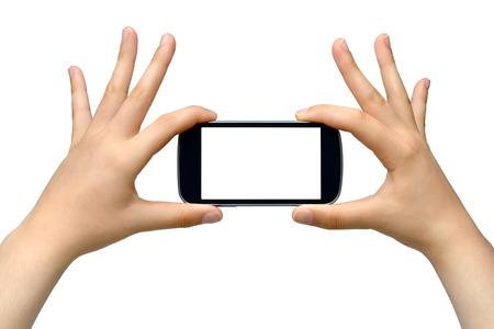 Jonge vrouw die smartphone - op een witte achtergrond