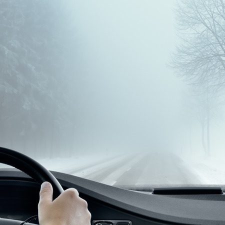 manejando: Winter Driving - Foggy carretera