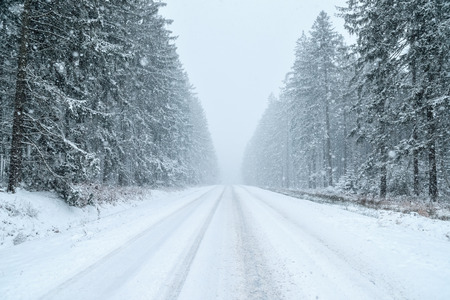 Winter Driving - country road in winter