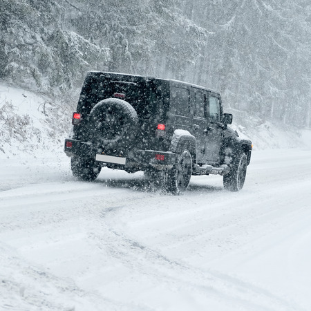 snow drift: Winter Driving - country road in winter - Drifting