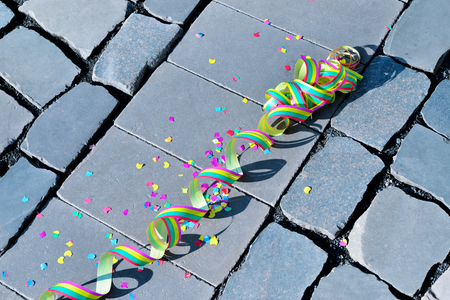 street party: Celebration - streamer on the ground - symbol for celebration and party
