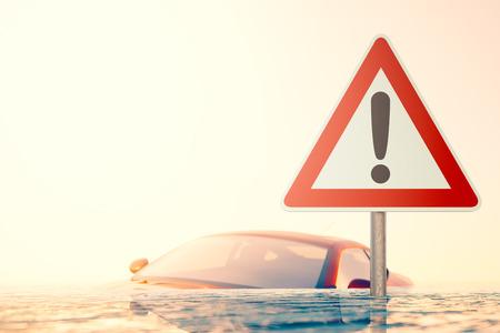 signe debout dans les eaux de crue en face d'une voiture inondée Avertissement Banque d'images