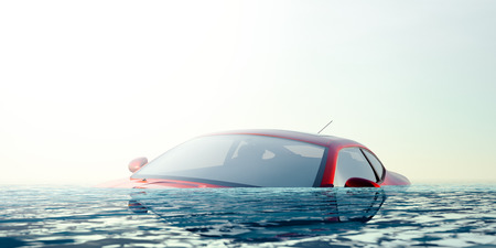 Car Floating in Floodwater - computer generated image Stock Photo