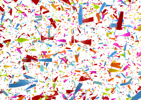 eg: Computer generated image of colorful confetti falling n front of a white background - eg as a carnival, party, disco and  or celebration background Stock Photo