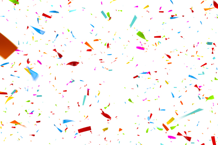 Computer generated image of colorful confetti falling n front of a white background - eg as a carnival, party, disco and / or celebration background