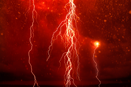 Lightning in front of a dramatic background - computer generated image Stok Fotoğraf
