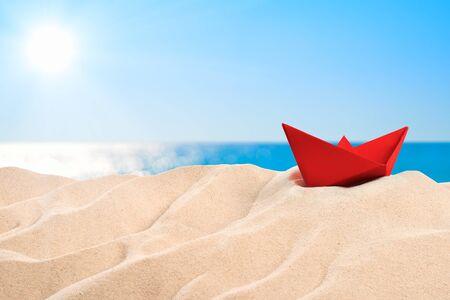 On the beach - a red sand dune on the beach Stok Fotoğraf