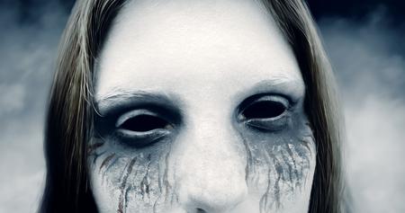 Scary girl in an eerie environment Stok Fotoğraf