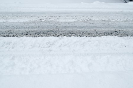 Winter Driving Background - snowy road with tire tracks