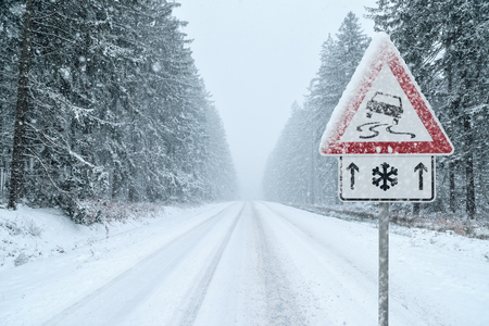 Winter Driving - Snowy Road with Warning Sign