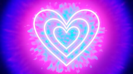 Neon Love - three heart-shaped neon tube-like light objects, that are hovering in front of a tunnel of light-colored particles - digitally generated concept image Stok Fotoğraf