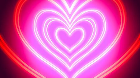 Tunnel of neon hearts - digitally generated image