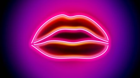 Sexy Neon Lips - digitally generated image Stock fotó