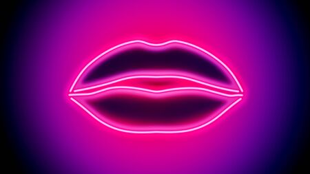 Shapely sensual neon lips - digitally generated image