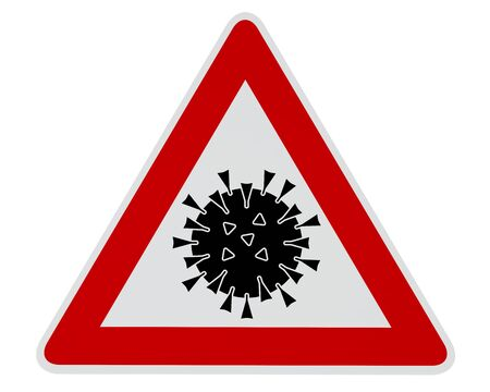 Caution Coronavirus - digitally generated image - clipping path included