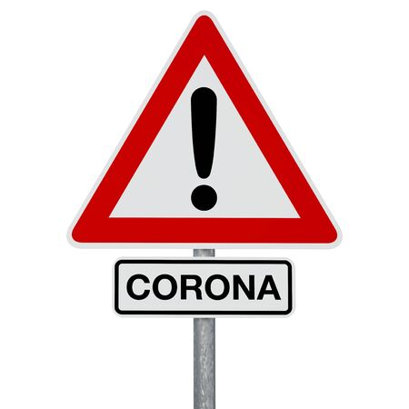 A traffic sign with CORONA additional sign, both attached to the same post. Digitally generated image. A clipping path is included. Stok Fotoğraf