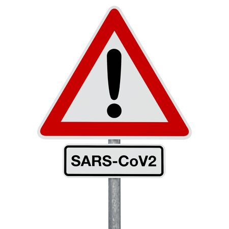 A traffic sign with SARS-CoV-2 additional sign, both attached to the same post. Digitally generated image. A clipping path is included.