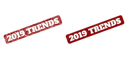 Flat vector 2019 TRENDS watermark with unclean style. Rounded rough rectangle watermark. Red scratched watermark with 2019 TRENDS caption inside rounded rough rectangle.