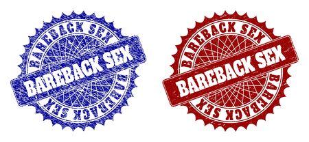 Abgerundete BAREBACK SEX Siegelstempel. Blaue und rote Notsiegelstempel mit BAREBACK SEX-Text innerhalb der abgerundeten Rosette. Flache Vektorabdrücke mit Notoberflächen. Vektorgrafik