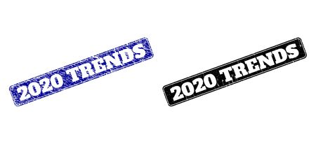 Rounded Rectangle 2020 TRENDS seal stamps. Black and blue scratched seal stamps with 2020 TRENDS title inside rounded rectangle with frame. Flat vector imprints with unclean surfaces. Çizim