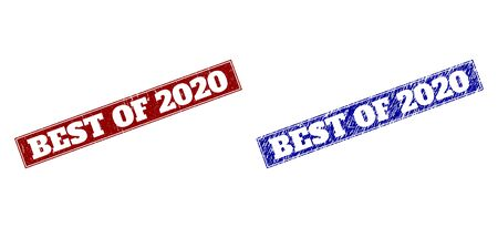 Rectangle BEST OF 2020 watermarks. Blue and red textured watermarks with BEST OF 2020 caption inside rectangle with frame. Flat vector watermarks with distress surfaces.