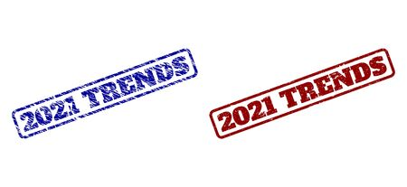 Rounded rectangle 2021 TRENDS stamps. Blue and red distress stamps with 2021 TRENDS phrase inside rounded rectangle frame. Flat vector imprints with distress styles.