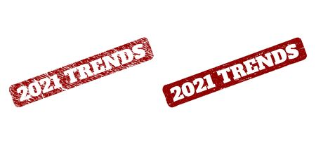 Flat vector 2021 TRENDS rubber imitation with scratched surface. Rounded rough rectangle seal stamp. Red scratched seal stamp with 2021 TRENDS phrase inside rounded rough rectangle. Çizim