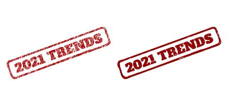 Rectangle rough 2021 TRENDS seal stamps. Red textured seal stamps with 2021 TRENDS phrase inside rounded rectangle rough frame. Flat vector watermarks with corroded surfaces. Çizim
