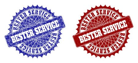 Round BESTER SERVICE seal stamps. Blue and red textured watermarks with BESTER SERVICE title inside round rosette. Flat vector watermarks with scratched surfaces.
