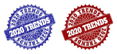Round 2020 TRENDS stamps. Blue and red grunge seal stamps with 2020 TRENDS text inside round rosette. Flat vector imprints with grunge textures. Çizim