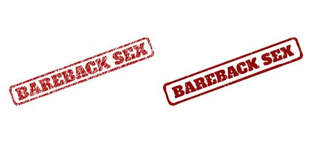 Rectangle rough BAREBACK SEX watermarks. Red textured stamps with BAREBACK SEX title inside rounded rectangle rough frame. Flat vector watermarks with grunge styles. 向量圖像
