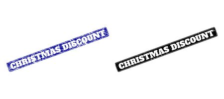 Rounded Rectangle CHRISTMAS DISCOUNT watermarks. Black and blue scratched watermarks with CHRISTMAS DISCOUNT title inside rounded rectangle with border. Flat vector watermarks with grunge surfaces.