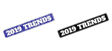 Rounded Rectangle 2019 TRENDS seals. Black and blue textured seals with 2019 TRENDS title inside rounded rectangle with border. Flat vector imprints with corroded textures. Çizim