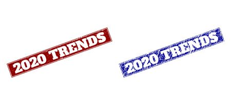 Rectangle 2020 TRENDS watermarks. Blue and red grunge watermarks with 2020 TRENDS phrase inside rectangle with border. Flat vector watermarks with corroded surfaces. Çizim