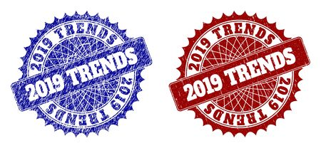 Round 2019 TRENDS seal stamps. Blue and red distress seal stamps with 2019 TRENDS text inside round rosette. Flat vector imprints with scratched textures. Çizim