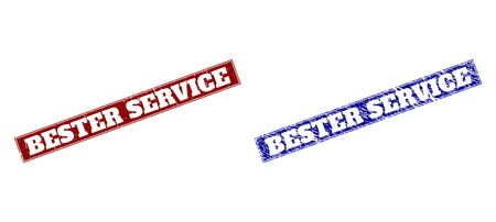 Rectangle BESTER SERVICE seals. Blue and red distress watermarks with BESTER SERVICE caption inside rectangle with border. Flat vector watermarks with grunge surfaces.