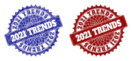 Rounded 2021 TRENDS seal stamps. Blue and red distress seal stamps with 2021 TRENDS phrase inside rounded rosette. Flat vector rubber imitations with grunge surfaces.