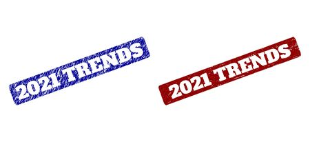Flat vector 2021 TRENDS imprints with unclean surfaces. Rounded Rectangle seal stamps. Red and blue distress seal stamps with 2021 TRENDS title inside rounded rectangle.