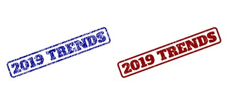 Rounded rectangle 2019 TRENDS seal stamps. Blue and red distress seal stamps with 2019 TRENDS title inside rounded rectangle frame. Flat vector imprints with corroded surfaces. Çizim
