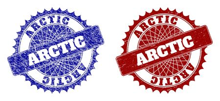 Round ARCTIC seal stamps. Blue and red textured seal stamps with ARCTIC caption inside rounded rosette. Flat vector watermarks with grunged textures.
