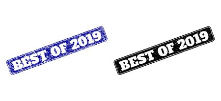 Rounded Rectangle BEST OF 2019 seal stamps. Black and blue distress seal stamps with BEST OF 2019 title inside rounded rectangle with frame. Flat vector rubber imitations with distress styles. Çizim