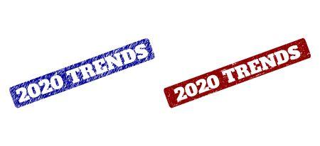 Imitations en caoutchouc du vecteur plat 2020 TRENDS avec des surfaces de détresse. Timbres de sceau Rectangle arrondi. Timbres de sceau de détresse rouge et bleu avec phrase TENDANCES 2020 à l'intérieur d'un rectangle arrondi.