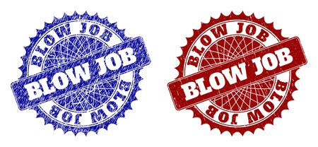 Rounded BLOW JOB seals. Blue and red scratched seals with BLOW JOB title inside round rosette. Flat vector rubber imitations with scratched textures.