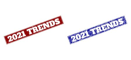Rectangle 2021 TRENDS seals. Blue and red grunge stamps with 2021 TRENDS message inside rectangle with border. Flat vector rubber imitations with grunge styles.