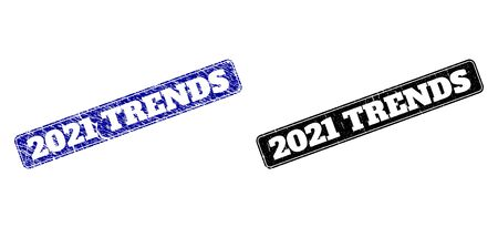 Rounded Rectangle 2021 TRENDS stamps. Black and blue grunge watermarks with 2021 TRENDS caption inside rounded rectangle with frame. Flat vector watermarks with grunged styles.