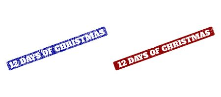 Flat vector 12 DAYS OF CHRISTMAS rubber imitations with scratched textures. Rounded Rectangle seals. Red and blue scratched seals with 12 DAYS OF CHRISTMAS message inside rounded rectangle.